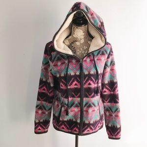 American Eagle Aztec Fleece Zip Up Hoodie Med
